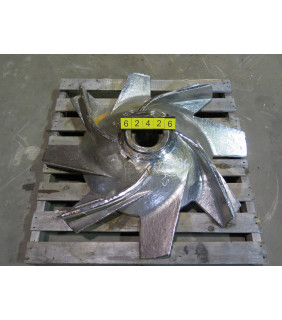 "USED PULPER ROTOR - ONE PIECE POWR-SAVR ROTOR - BLACK CLAWSON - 42"" - IMPELLER - 8-VANE - FOR SALE - CCW"
