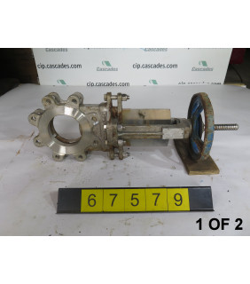 """1 OF 2 - KNIFE GATE VALVE - 4"""" - GRINNELL - MANUAL - METAL SEAT - USED"""