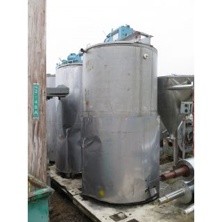 "USED TANK - 650 GAL - 4' X 7' STAINLESS STEEL (48"" X 84"") - AGITATOR MIXING TANK - FOR SALE"