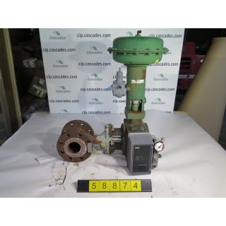 "USED GLOBE VALVE - ROTARY CONTROLS VALVE - FISHER 1052-V500 - 3"" - FOR SALE"