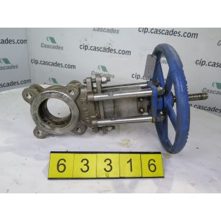 "KNIFE GATE VALVE - 3"" - TRUELINE - MANUAL - RESILIENT SEAT - USED"