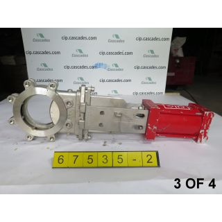 "3 OF 4 - KNIFE GATE VALVE - 6"" - ELITE-VALVE E5700 HP - PNEUMATIC - METAL SEAT - USED"