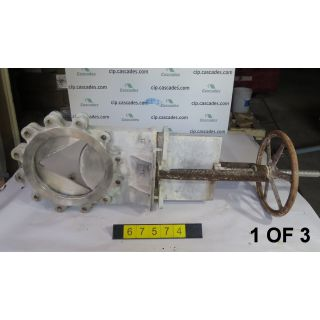 "1 OF 3 - KNIFE GATE VALVE - 12"" - STAFSJO - MANUAL - METAL SEAT - V-PORT - USED"
