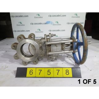 "1 OF 5 - KNIFE GATE VALVE - 4"" - TRUELINE - RESILIENT - MANUAL - USED"