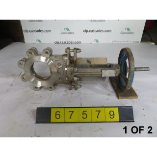 "1 OF 2 - KNIFE GATE VALVE - 4"" - GRINNELL - MANUAL - METAL SEAT - USED"