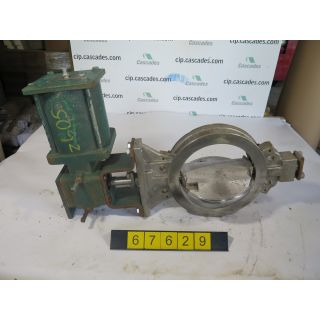 "USED BUTTERFLY VALVE - 10"" - FISHER TYPE: 8510 SIZE: 10 - ACTUATOR FISHER TYPE: 1066 SIZE: 75 - FOR SALE"