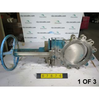 "1 OF 3 - KNIFE GATE VALVE - 12"" - VELAN - MANUAL - RESILIENT SEAT - USED"