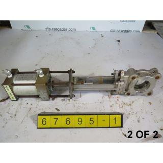 """2 OF 2 - KNIFE GATE VALVE - 3"""" - VELAN - PNEUMATIC - METAL SEAT - USED"""
