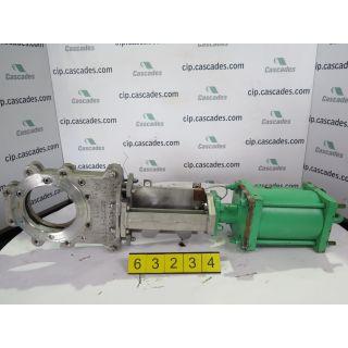 """KNIFE GATE VALVE - 6"""" - ROVALVE - PNEUMATIC - RESILIENT SEAT - USED"""