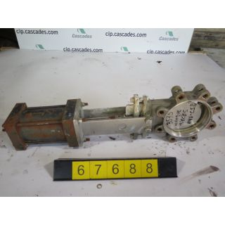 "KNIFE GATE VALVE - 4"" - FABRI-VALVE - PNEUMATIC -  METAL SEAT - USED"