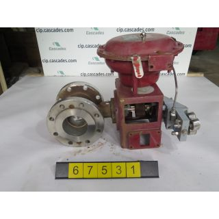 "1 OF 2 - V-BALL VALVE - MASONEILAN 33-36414 - 4"" - USED"