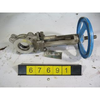 "KNIFE GATE VALVE - 3"" - VELAN - MANUAL - RESILIENT SEAT - USED"