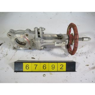 "KNIFE GATE VALVE - 3"" - FLOW CONTROL - MANUAL - METAL SEAT - USED"