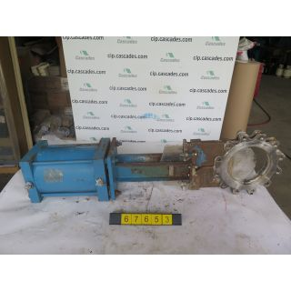 "KNIFE GATE VALVE - 10"" - HILTON - PNEUMATIC - RESILIENT SEAT - USED"