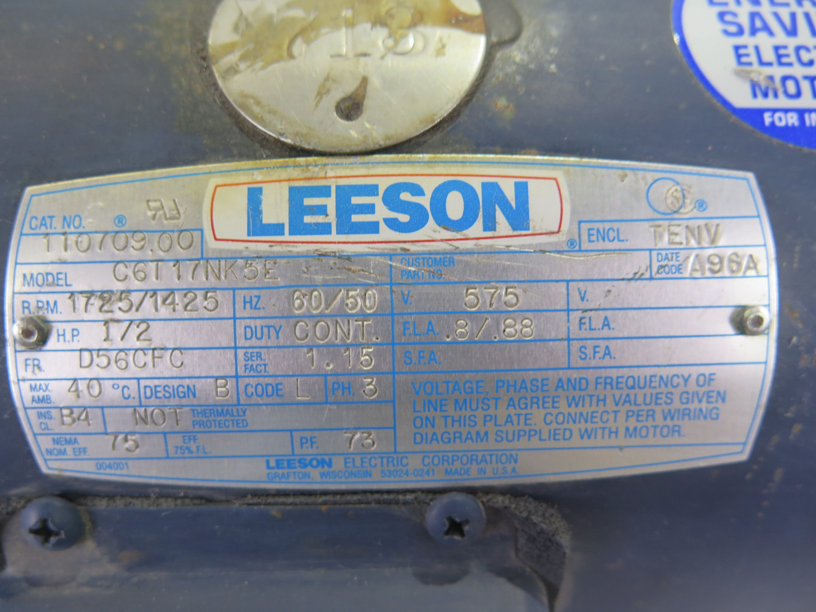 MOTOR AC - LEESON - 0.5 HP - 1800 RPM - 575 VOLTS on