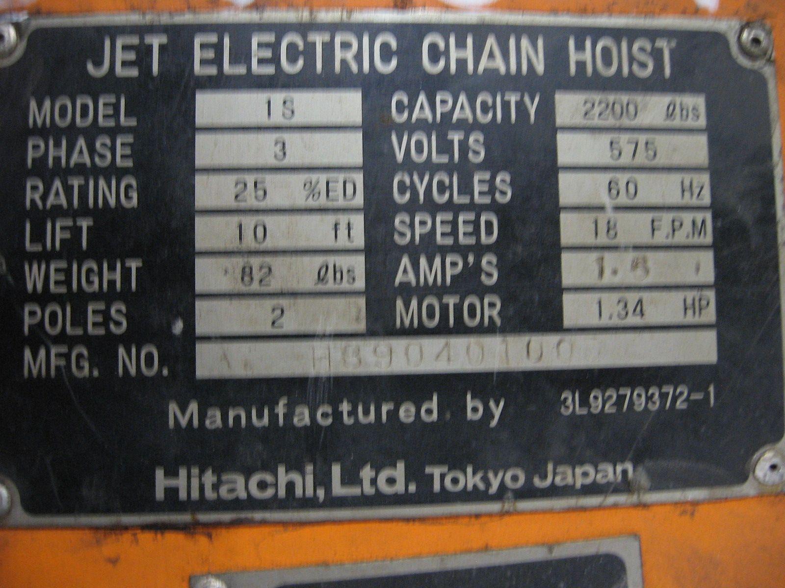 Jet Electric Chain Hoist Wiring Diagram Online Schematics 2 Speed 1 Ton 1s Power Winch