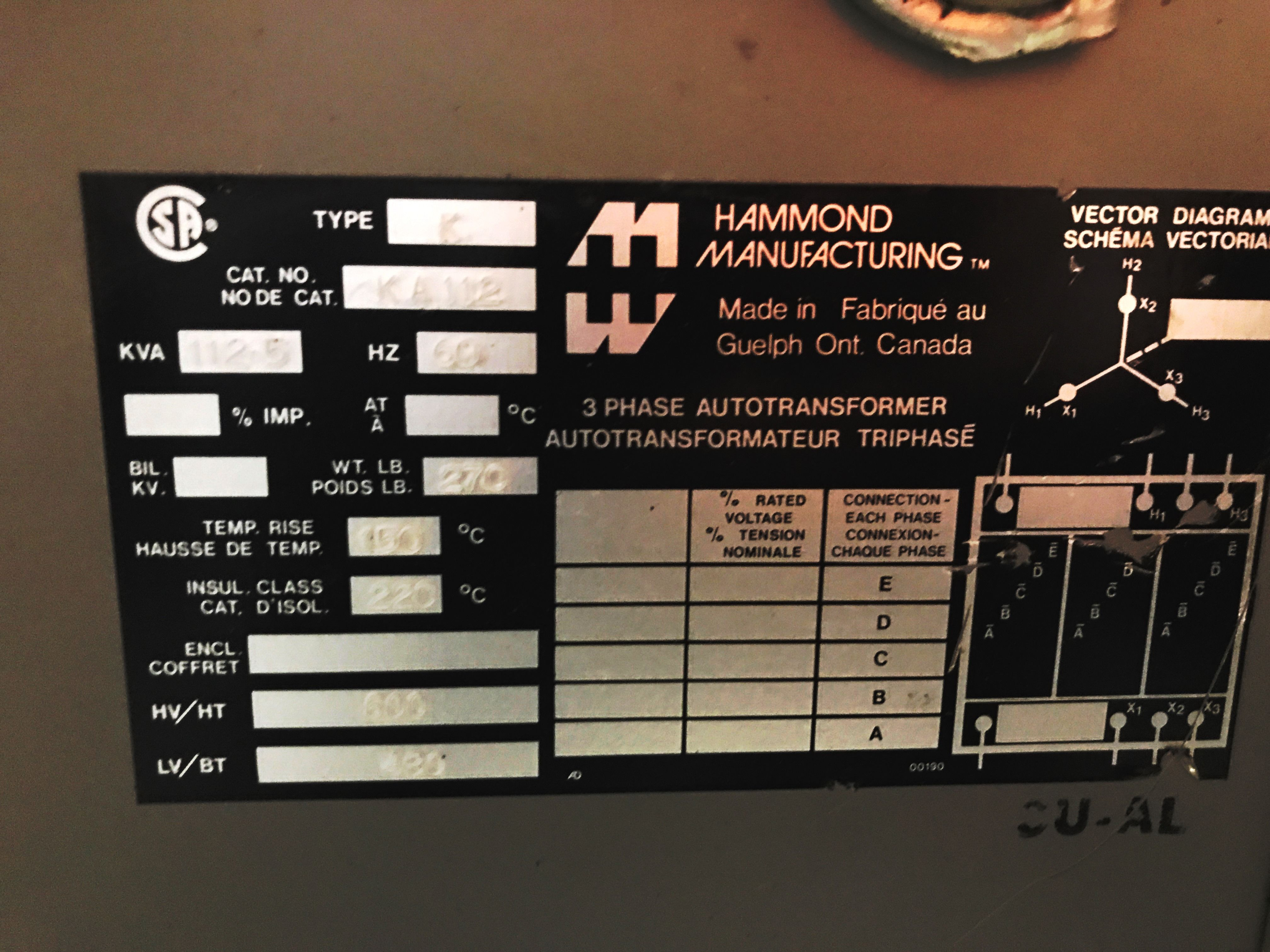 TRANSFORMER - HAMMOND MANUFACTURING - 112.5 KVA - 600 to 480 on